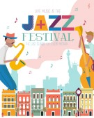 Jazz concert or festival poster template with New York landscape and characters playing musical instruments Editable vector illustration