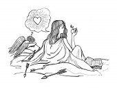 lazy girl dreams of love cupid suffers vector monochrome