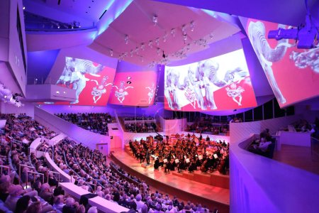 Photo for MIAMI, FLORIDA - JAN 20, 2018  The New World Symphony celebrates 7 years of creating audiovisual performances with projections on the concert hall sails - Royalty Free Image