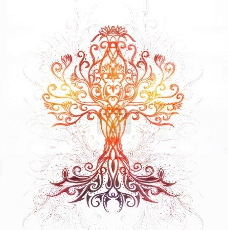Photo pour Symbole de l'arbre de vie sur fond ornemental structuré, yggdrasil - image libre de droit