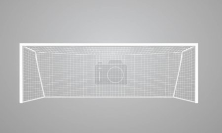 Realistic football goal of white color, with a white grid, perspective view. Vector eps10