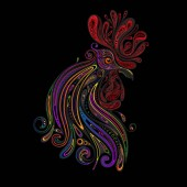 Color vector Christmas cock from a variety of patterns on a black background