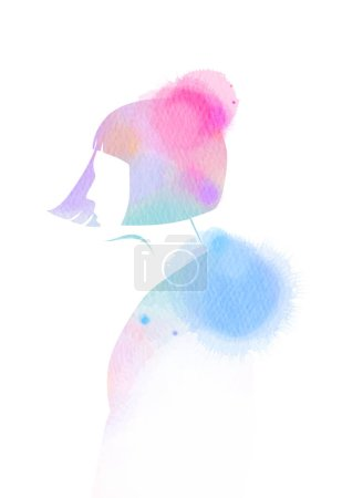 Illustration of woman beauty salon silhouette plus abstract watercolor.  Digital art painting.