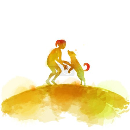 Girl playing with dog  silhouette on watercolor ba...