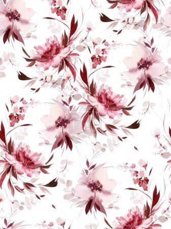Photo for Seamless summer pattern with watercolor flowers handmade. - Royalty Free Image
