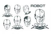 Android set Robotic face Robot logo for design Robotics Vector graphics to design