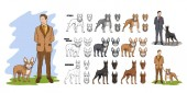 Set of man with dog dog friendship man with pet man and his best friend dog pitbull french bulldog doberman Vector graphics to design