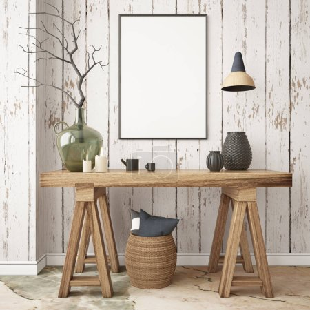 Mockup poster in the Scandinavian interior with a console table in lagom style.