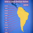 Vector schematic map of Union of South American Na...