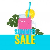 Summer sale banner with smoothie cocktail in a jar with a tube