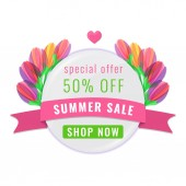 Summer sale banner with multi-colored tulips flowers