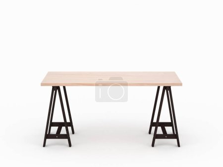 Photo for Wooden oak table desk mockup with dark brown legs isolated on light gray studio, 3d rendering - Royalty Free Image