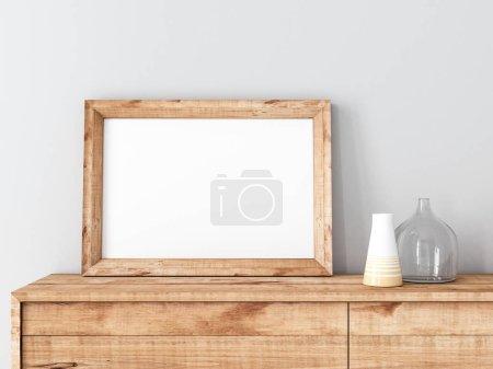 maqueta de marco vacío en el interior moderno, renderizado 3d
