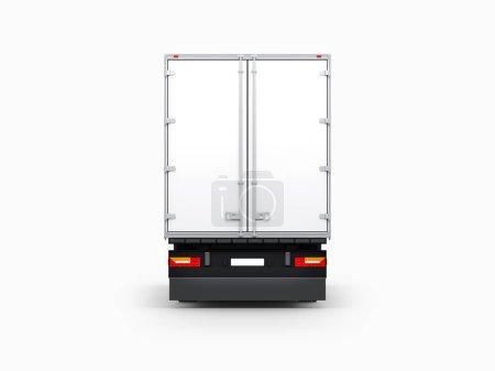 Photo pour Semi remorque Mockup isolé sur gris, Big Truck côté arrière, rendu 3d - image libre de droit