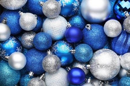 Photo pour Fond de boules de Noël bleu et argent - image libre de droit