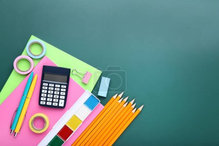 Photo for School supplies on chalkboard background - Royalty Free Image