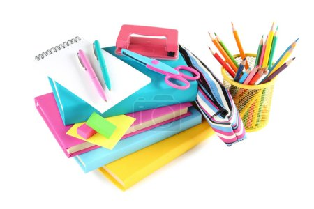 Photo for School supplies on white background - Royalty Free Image