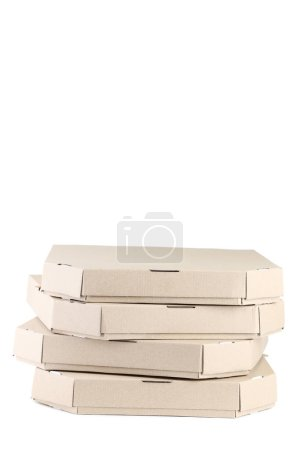 Stack of pizza boxes isolated on white background