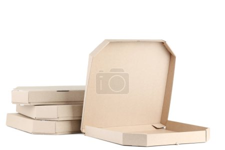 Opened pizza box and stacked boxes isolated on white background