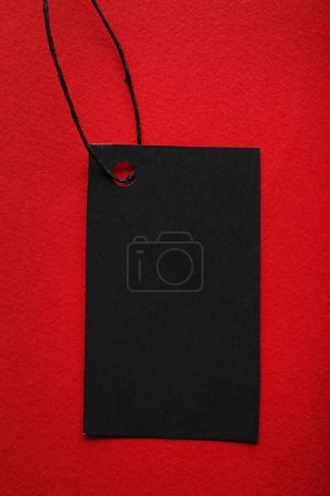 Photo for Black sale tag on red background - Royalty Free Image