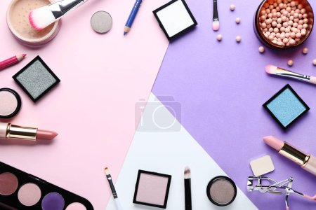 Photo for Makeup cosmetics on colorful background - Royalty Free Image
