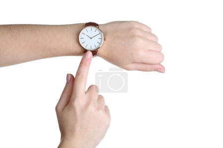 Photo for Elegant wrist watch on human hand on white background - Royalty Free Image