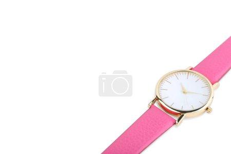 Photo pour Montre de poignet rose sur fond blanc - image libre de droit