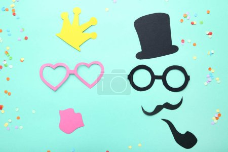 Paper booth props for party on mint background