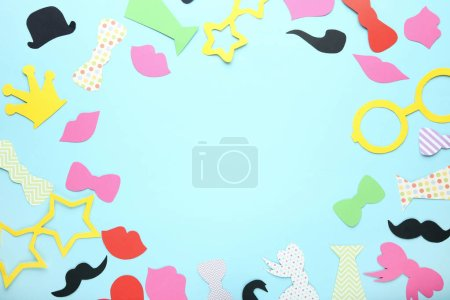 Colorful booth props for party on blue background