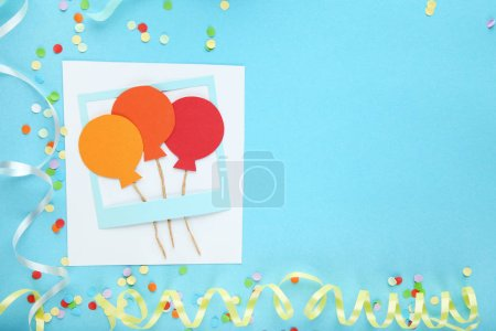 Paper booth props for party on blue background