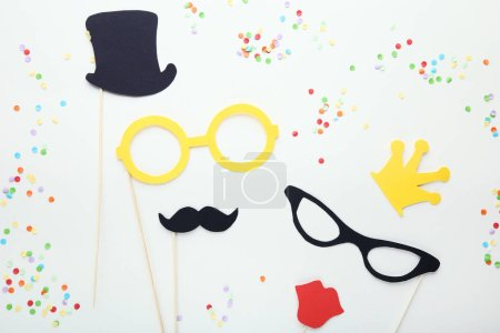 Paper booth props for party on white background