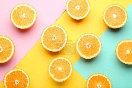 Orange fruit on colorful background