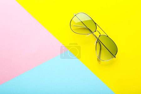 Photo for Modern sunglasses on colorful background - Royalty Free Image