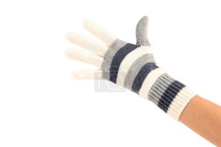 Photo for Hand in knitted mitten on white background - Royalty Free Image