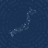 Japan network constellation style country map Neat space style modern design Japan network map