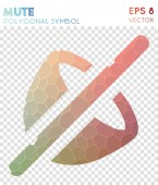 Mute polygonal symbol Attractive mosaic style symbol Exquisite low poly style Modern design Mute