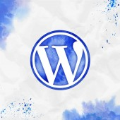 Wordpress watercolor icon Bold hand drawn style symbol Optimal watercolor symbol Modern design for infographics or presentation