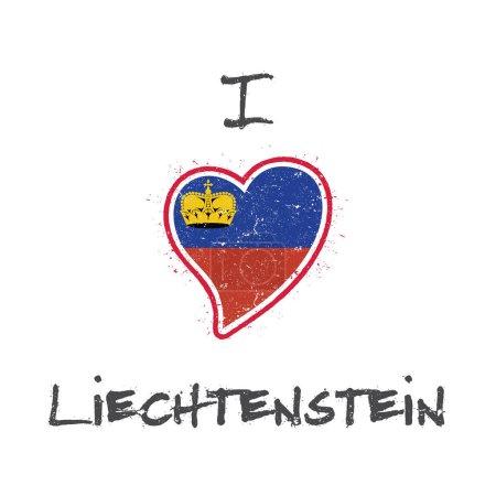 Liechtensteiner flag patriotic tshirt design Heart shaped national flag Liechtenstein on white