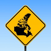 Canada map on road sign Square poster with Canada country map on yellow rhomb road sign Vector illustration