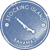 Stocking Island map vintage stamp Retro style handmade label badge or element for travel