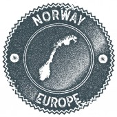 Norway map vintage stamp Retro style handmade label badge or element for travel souvenirs Dark