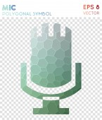 Mic polygonal symbol Astonishing mosaic style symbol Symmetrical low poly style Modern design
