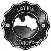Latvia map vintage stamp Retro style handmade label badge or element for travel souvenirs Black
