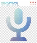 Mic polygonal symbol Astonishing mosaic style symbol Superb low poly style Modern design Mic