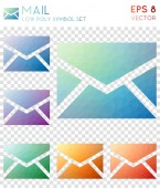 Mail geometric polygonal icons Awesome mosaic style symbol collection Exquisite low poly style