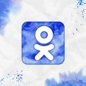 Odnoklassniki rect watercolor icon Attractive hand drawn style symbol Optimal watercolor symbol