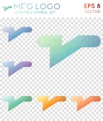 Mfg logo geometric polygonal icons Awesome mosaic style symbol collection Optimal low poly style