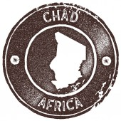 Chad map vintage stamp Retro style handmade label badge or element for travel souvenirs Brown