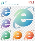 Ie geometric polygonal icons Attractive mosaic style symbol collection Immaculate low poly style