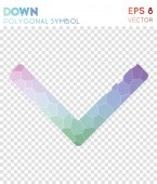 Down polygonal symbol Actual mosaic style symbol Exquisite low poly style Modern design Down